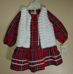 Pastourelle Pippa & Julie 3 Piece Red Plaid Dress